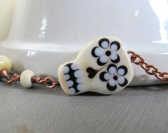 Glass Necklace, Pendant Necklace, Skull Pendant, Ivory Bone Glass, Flower Eyes, Off White Glass, Copper Necklace, Lampwork Glass,