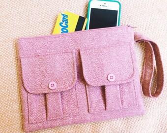 Wristlet - Pink Tweed Herringbone Wristlet Wallet, Pink Wallet Wristlet, Tweed Wristlet, iPhone Wristlet, Fabric Wallet, Wool Wristlet
