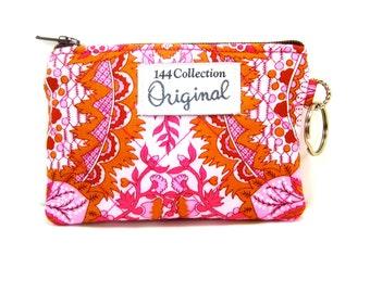 Pink Rosebud Flower Quilted Wallet, Pink Keychain Wallet, Quilted Bags, Quilted Coin Wallet, Pink Coin Purse, Keyring Wallet, Coin Purse