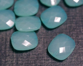 2for1 CLEARANCE - 24x20mm Small Translucent Faceted Acrylic Flat Pillow Beads - Sky Aqua Blue