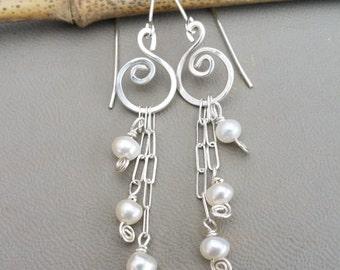 Long Pearls And Swirls Sterling Silver Dangle Earrings, Mother's Day Silver Wire Earrings, Pearl Jewelry, Women, Fresh Water Pearl Earrings