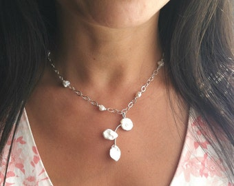 Pearl Necklace Beaded White Hawaiian Wedding Jewelry Sterling Silver - Leimomi