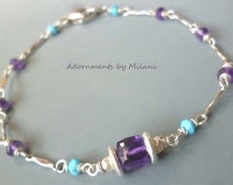 Amethyst Purple & Blue Turquoise Bracelet Gemstone Sterling Silver Beaded