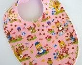 FLASH SALE - pink alice wonderland baby bib boutique bib modern baby fabric girl baby WHITE minky #317