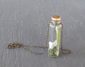 moss stone and bone vial necklace - curiosity cabinet necklace - natural collection pendant - one of a kind necklace