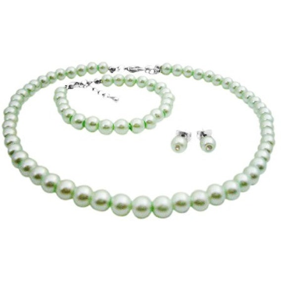 Flower Girl Jewelry Gorgeous Lite Green Pearls Jewelry Baptism Jewelry Set Free Shipping In USA