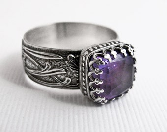Amethyst Ring: Sterling Silver Square Purple Faceted Gemstone