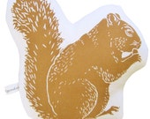 block print squirrel stuffie