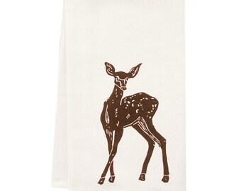 block print deer tea  towel ORGANIC