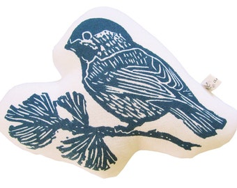 block print chickadee stuffie