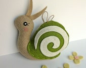 Tiny Snail Ornament in Willow Green