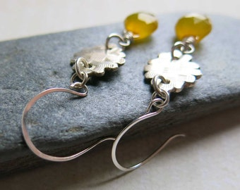 Golden Yellow Chalcedony Briolette Earrings, Yellow Gemstone Earrings, Sterling Silver Yellow Chalcedony Earrings
