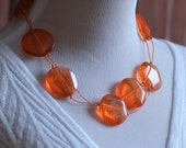 Eco-Chic Eco-Friendly Tangerine Orange Resin and Recycled Telephone Wire Necklace