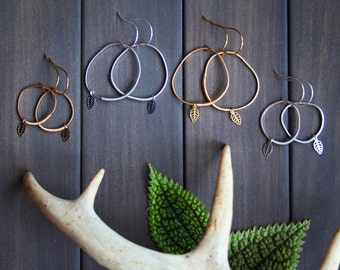 Topo Earrings 3 - leaf leaves freeform circle round coil hoop small large unique everyday woodland nature minimal modern zen gift for her