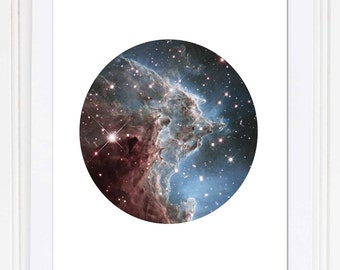 Hubble Telescope Space Print / Nebula Print / Galaxy Print / Science Print / Universe Print / Circle Print / 5x7, 8x10, 13x19