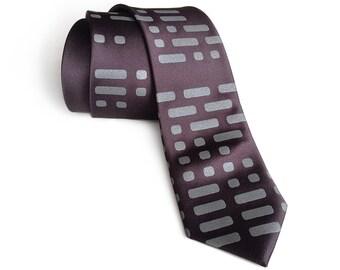 Morse Code silk tie. Dot & Dash, telegraph men's necktie. Ham radio gift, amateur radio, computer science, military history and more.