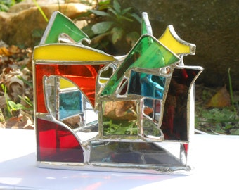 Infinity Flame Triangle Shaped Rainbow Themed Stained Glass Candle Holder with Mirrors colorful abstract tealight votive home office studio