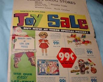 1960s Eckerd's Drug Stores Santa's Playland Toy Sale ad Winston-Salem, NC