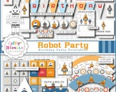 40% off Robot Birthday Party Package printable cupcake toppers, wrappers, signs,  Instant Download