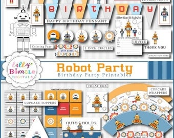 60% off Robot Birthday Party Package printable cupcake toppers, wrappers, signs,  Instant Download