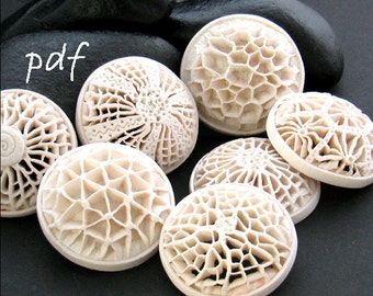 Polymer clay tutorial, Openwork Pendants, Voronoi-style jewelry, pdf tutorial, original technique