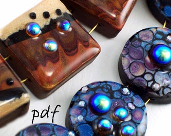 Polymer clay and resin tutorial, faux lampwork beads, abstract design, pdf tutorial, instant download