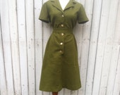 Vintage Olive Green Shirt Dress