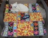 Cat Blanket, Cat Bed, Cat Quilt, Pet Mat, Red and Yellow Cat Bed, Catnip Mat, Travel Pet Pad, Crate Mat, Luxury Cat Bed, Designer Cat Bed