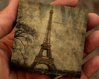 Eiffel Tower No. 3- Small Art Block- Eiffel Tower Art- Paris Gifts for Wife- Eiffel Tower Gifts- Paris Art- Paris Themed Gifts Under 20