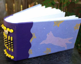 KITTY of the NIGHT SKY Celestial Art Journal Blank Bound Book Sketch Book Guest Book Hand Dyed and Painted Cover Leather Beaded Spine