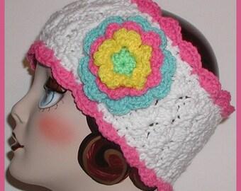 White Ear Warmer Headband Hot Pink Lime Green Aqua Blue Ski Head Band Flower