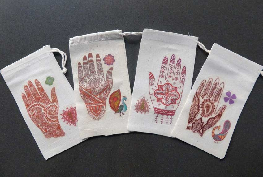 Mehndi Ceremony Party Favor Bags WEDDING FAVORS South Asian Indian ...
