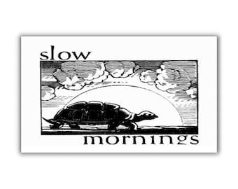 Slow Morning refrigerator Magnet fridge kitchen decor turtle vintage art humor