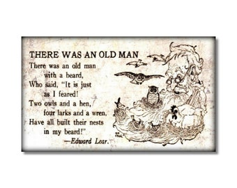There was an Old Man with Beard fridge Magnet Edward Lear poem  kitchen decor