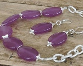 OOAK, Purple Faceted Jade Gemstone Ovals with Textured Silver Chain Necklace and Matching Earrings