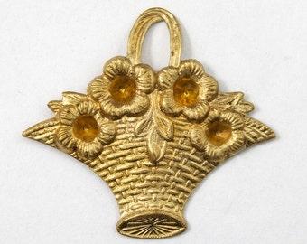 32mm Brass Flower Basket #2974
