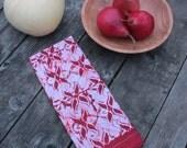 crimson red lotus linen tea towel