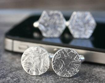 Silver Hammered Cufflinks - Cross Hatch