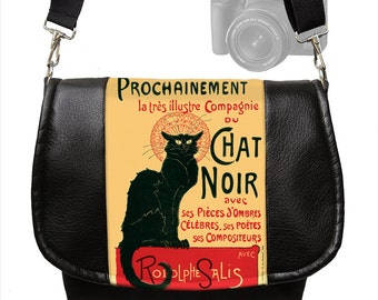 Le Chat Noir Dslr Camera Bag Purse Vegan Leather Camera Case Black Cat  Slr Messenger Bag Nikon, Canon, etc red yellow black   MTO