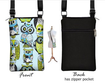 iPhone 6 / Plus Smartphone Purse,  Cute Owl Cell Phone Case Green Blue  Small Cross Body Bag,  zipper, fabric RTS