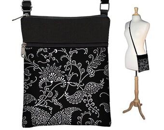 SALE Sling Bag Shoulder Purse, Crossbody Bag, Small Travel Purse with zipper Fits Kindle, Ereader Purse,  White Black Paisley MTO