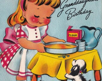 Vintage 1950's For Dear Granddaughter's Birthday Baking Greetings Card (B15)