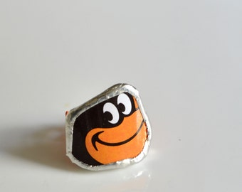 Broken Plate Adudstable ring  - Baltimore ORIOLES - Recycled China