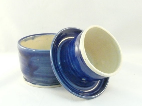 Cobalt Large Cobalt Blue Ceramic French Butter Dish Ready to Ship - Butter Keeper or Crock - for the home chef -