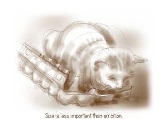 Cat-of-the-Day greetings card: 'Size is less important than Ambition' - art card, blank inside