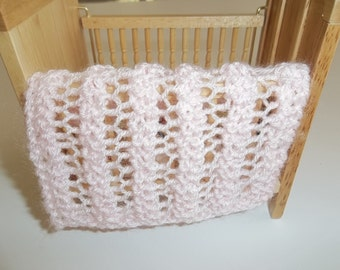 Light/Pale Pink Miniature Doll House Blanket/Afghan - One Twelfth Scale Lacy Pattern Pink Miniature Blanket