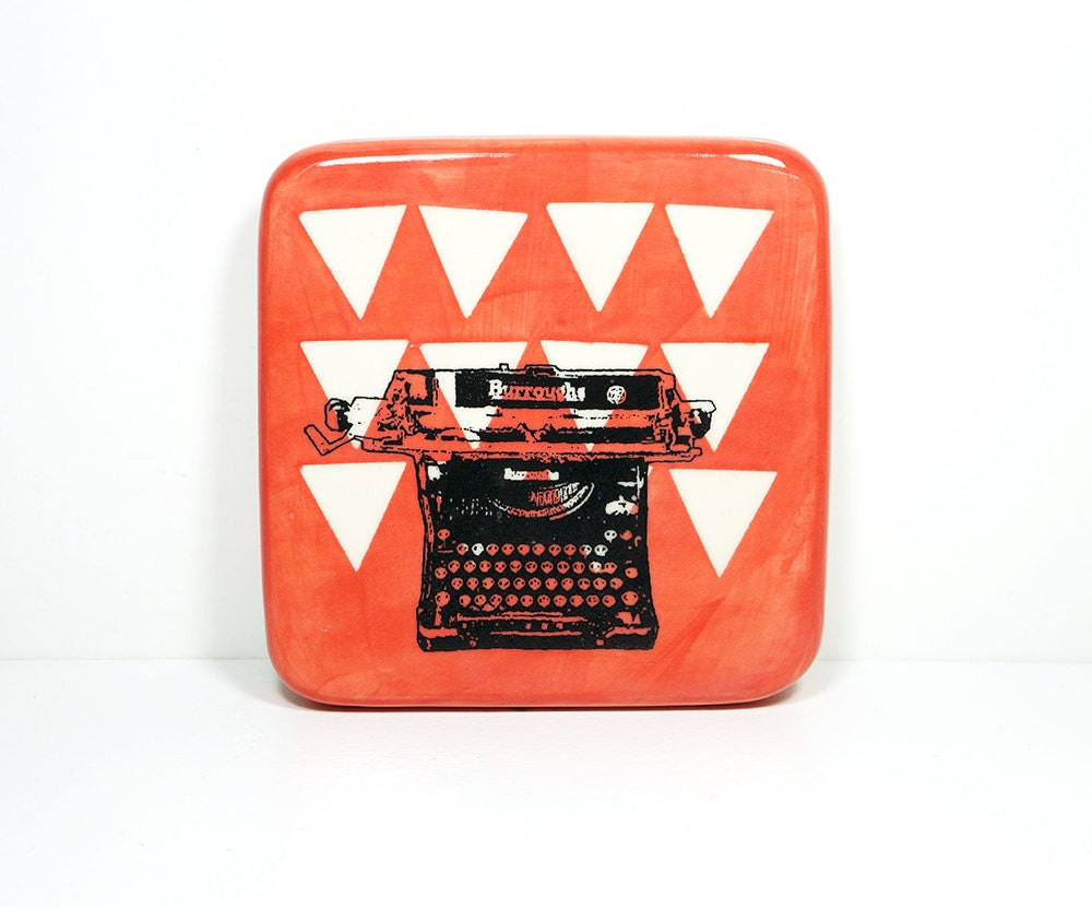 tile with a Burroughs typewriter on white triangles on red-orange, made to order / pick your colour