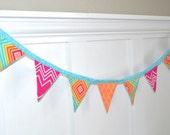 SALE Fabric Garland Banner Bunting Pennant - Pink Orange Aqua Spring