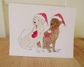 Yellow and Chocolate Lab Christmas Card Set, Pair of Labs Holiday Card Set, Labrador Retriever Holiday Christmas Cards Set of 6