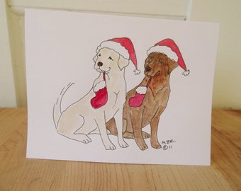 Yellow and Chocolate Lab Christmas Card Set, Pair of Labs Holiday Card Set, Labrador Retriever Holiday Christmas Cards Set of 6